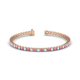 14K Rose Gold Bracelet with Aquamarine and Pink Sapphire