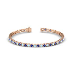 14K Rose Gold Bracelet with Aquamarine and Blue Sapphire