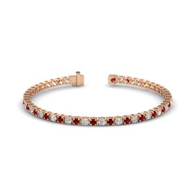 14K Rose Gold Bracelet with Ruby and Diamond