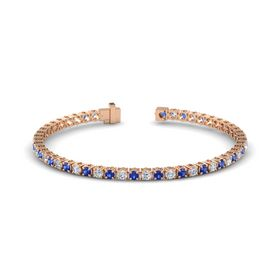 14K Rose Gold Bracelet with Blue Sapphire and Diamond