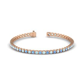 14K Rose Gold Bracelet with Blue Topaz and Aquamarine