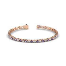 14K Rose Gold Bracelet with Iolite and Diamond