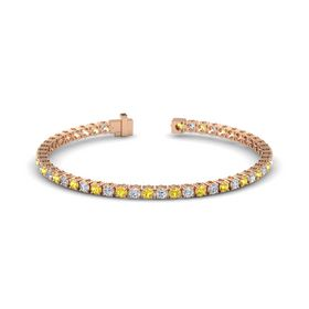 14K Rose Gold Bracelet with Yellow Sapphire and Diamond