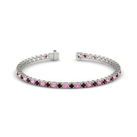 14K White Gold Bracelet with Pink Tourmaline and Red Garnet