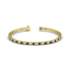 14K Yellow Gold Bracelet with Black Diamond and Diamond