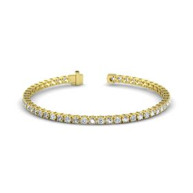 14K Yellow Gold Bracelet with Rock Crystal and Diamond