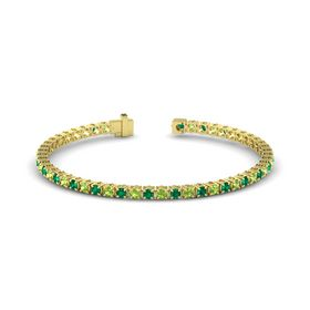 14K Yellow Gold Bracelet with Emerald and Peridot