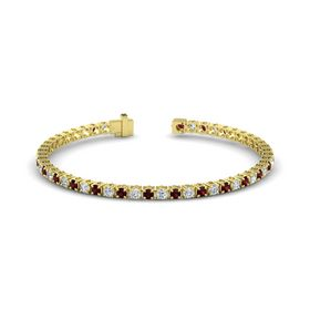14K Yellow Gold Bracelet with Red Garnet and Diamond