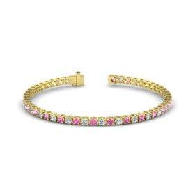 14K Yellow Gold Bracelet with Pink Sapphire and Diamond