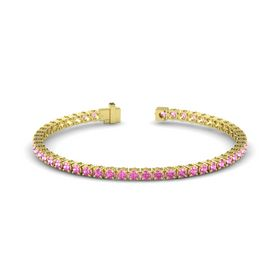 14K Yellow Gold Bracelet with Pink Sapphire