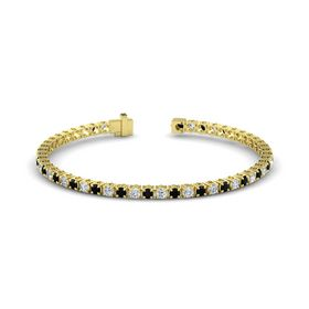 14K Yellow Gold Bracelet with Black Onyx and Diamond