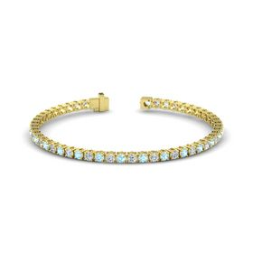14K Yellow Gold Bracelet with Aquamarine and Diamond