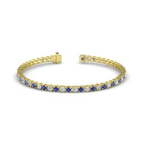 14K Yellow Gold Bracelet with Blue Sapphire and Diamond