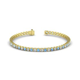 14K Yellow Gold Bracelet with Blue Topaz and Diamond