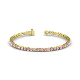 14K Yellow Gold Bracelet with Pink Tourmaline and Diamond