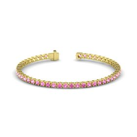 14K Yellow Gold Bracelet with Pink Tourmaline and Pink Sapphire