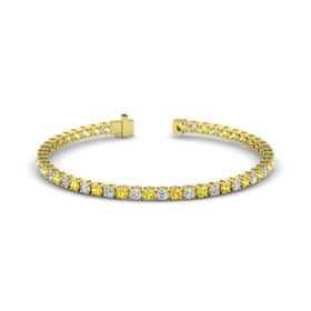 14K Yellow Gold Bracelet with Yellow Sapphire and Diamond