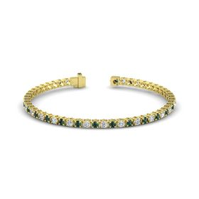 14K Yellow Gold Bracelet with Alexandrite and Diamond