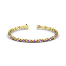 14K Yellow Gold Bracelet with Smoky Quartz and Amethyst