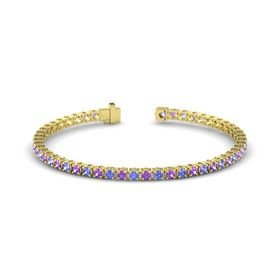 14K Yellow Gold Bracelet with Tanzanite and Amethyst