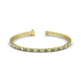 18K Yellow Gold Bracelet with Green Tourmaline and Diamond