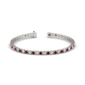 Palladium Bracelet with Ruby and Diamond