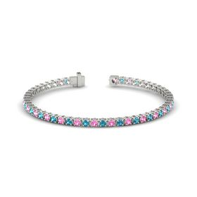 Palladium Bracelet with Pink Tourmaline and London Blue Topaz