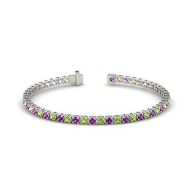 Platinum Bracelet with Rhodolite Garnet and Peridot