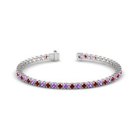 Sterling Silver Bracelet with Amethyst and Ruby