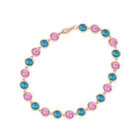 14K Rose Gold Bracelet with Pink Tourmaline & London Blue Topaz