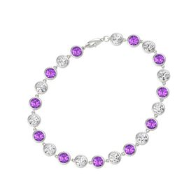 14K White Gold Bracelet with Amethyst & White Sapphire