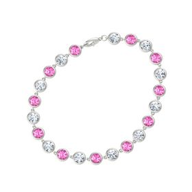 14K White Gold Bracelet with Pink Sapphire & Diamond