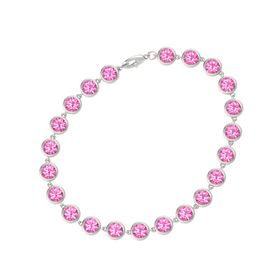 14K White Gold Bracelet with Pink Tourmaline