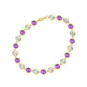 14K Yellow Gold Bracelet with Amethyst & White Sapphire