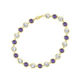 14K Yellow Gold Bracelet with Iolite & Diamond