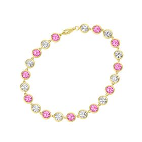 14K Yellow Gold Bracelet with Pink Tourmaline & White Sapphire