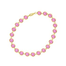 14K Yellow Gold Bracelet with Pink Tourmaline