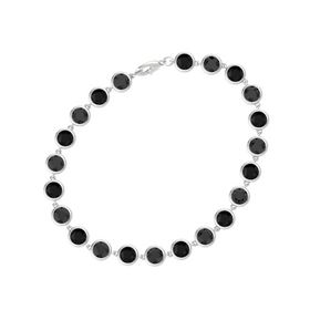 Sterling Silver Bracelet with Black Diamond & Black Onyx