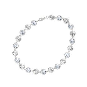 Sterling Silver Bracelet with Diamond & White Sapphire