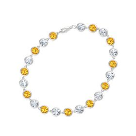 Sterling Silver Bracelet with Citrine & Diamond