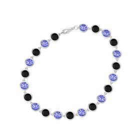 Sterling Silver Bracelet with Black Onyx and Tanzanite