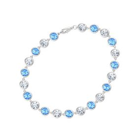 Sterling Silver Bracelet with Blue Topaz and Moissanite