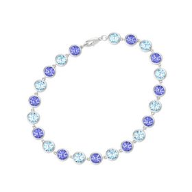 Sterling Silver Bracelet with Tanzanite & Aquamarine