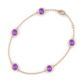 Round Amethyst 14K Rose Gold Bracelet with Amethyst