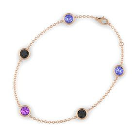 Round Amethyst 14K Rose Gold Bracelet with Black Diamond and Tanzanite