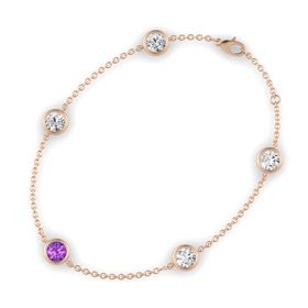 Round Amethyst 14K Rose Gold Bracelet with White Sapphire