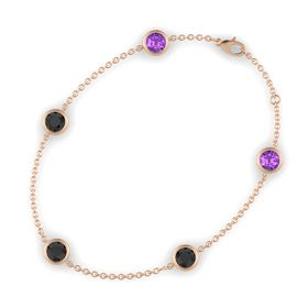 Round Black Diamond 14K Rose Gold Bracelet with Black Diamond & Amethyst