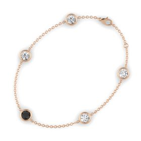 Round Black Diamond 14K Rose Gold Bracelet with White Sapphire