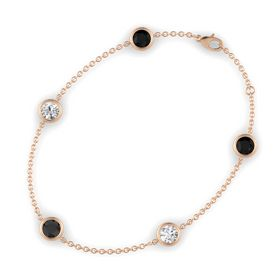 Round Black Diamond 14K Rose Gold Bracelet with White Sapphire & Black Onyx