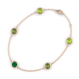 Round Emerald 14K Rose Gold Bracelet with Green Tourmaline & Peridot